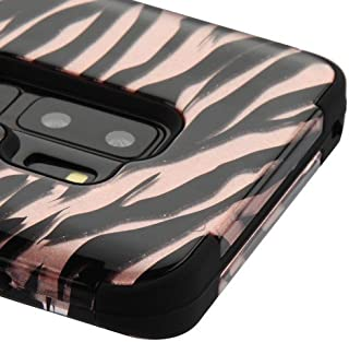 Kaleidio Case for Samsung Galaxy S9 Plus G965 [TUFF] Rugged Armor 3-Piece [Shock/Impact Protection] Dual Layer Hybrid Rubber Cover [Includes a Overbrawn Prying Tool] [Zebra Rose Gold Skin]
