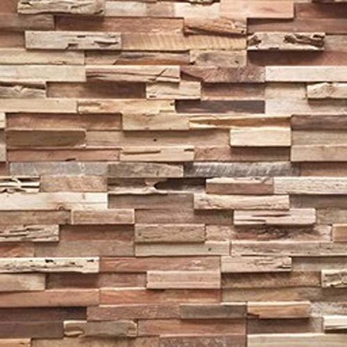 3D Holzpaneele/Holzverblender - Wandpaneele Holz für Wand - Holzwandverkleidung Innen - Wandpanel Haus, Wohnzimmer, Bett, TV usw. (Teak Colorado)