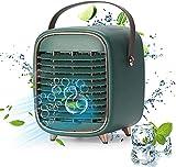 Ventilador de aire acondicionado portátil con batería recargable y asa, ventilador de escritorio con 3 velocidades para casa de oficina al aire libre y al aire libre