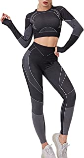 Women's Legging Workout Set Active 2 Pieces Quick-Drying High Elasticity Yoga Leggings with Hollow Long Sleeve Crewneck Pu...