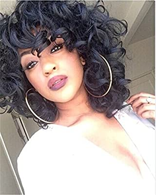 ELIM Short Curly Kinky Wigs for Black Women Fluffy Wavy Synthetic Hair Wig Natural Looking Wigs Heat Resistant Wigs with Wig Cap