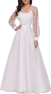 Ever-Pretty Abiti da Sposa Lunghi Spalline Sottili da Donna a Maniche Lunghe con Linea ad A Stile Impero EH00242