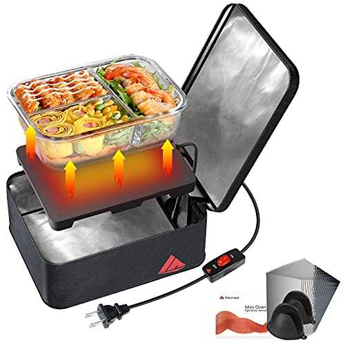 SabotHeat Mini Portable Oven - 120V 90W Portable Microwave with On/Off Switch for Reheating & Raw Food Cooking, Portable Food Warmer Lunch Box for Office, Travel, Home Kitchen(Black)