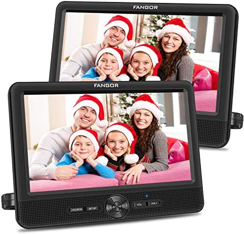 FANGOR 10 Dual Car DVD Player Portable Headrest CD Players with 2 Mounting Brackets 5 Hours product image