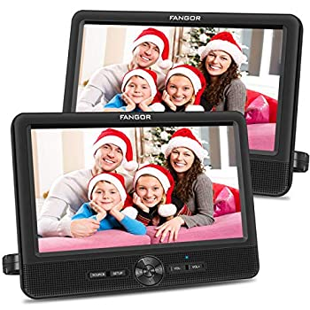 FANGOR 10'' Dual Car DVD Player Portable Headrest CD Players with 2 Mounting Brackets 5 Hours Rechargeable Battery Last Memory Free Regions USB/SD Card Reader AV Out&in   1 Player + 1 Screen