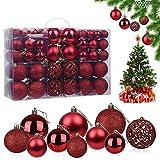 Bolas de Navidad, 100 Piezas Bolas de árbol de Navidad Bola de Decoración Navideña Bolas de Navidad Decoración Adornos de Bolas de Navidad, para Navidad Decorar y Fiestas (Rojo)