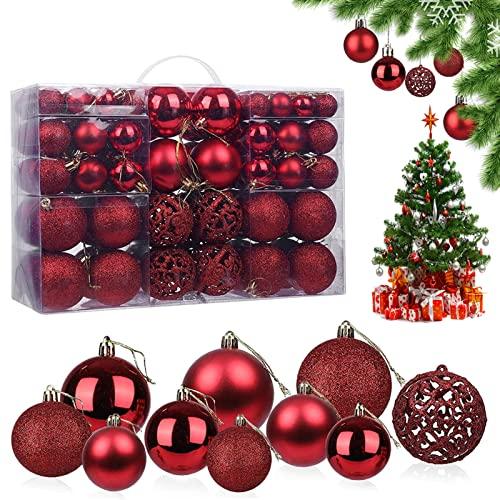 Palline di Natale, 100 Palle di Natale Palline per Albero di Natale Palline Natalizie Palle Natalizie Palla di Natale, Per Natale Palle e Decorazione Natalizia (Rosso)