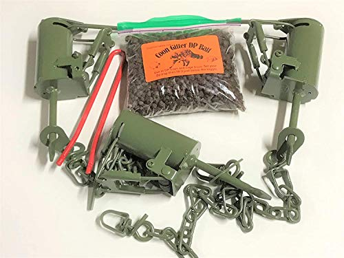3 FPS DP Dog Proof Raccoon Traps, 1 DP Setter & 1 Coon Gitter Bait By Fox Peak Outdoor supply