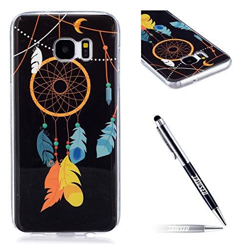 JAWSEU Coque pour Samsung Galaxy S7 Edge Silicone Ultra Mince Transparent Soft Cover Proective Case Noctilucent Flash Belle Drôle TPU Case Ultra Slim Flexible Souple Gel Bumper Case