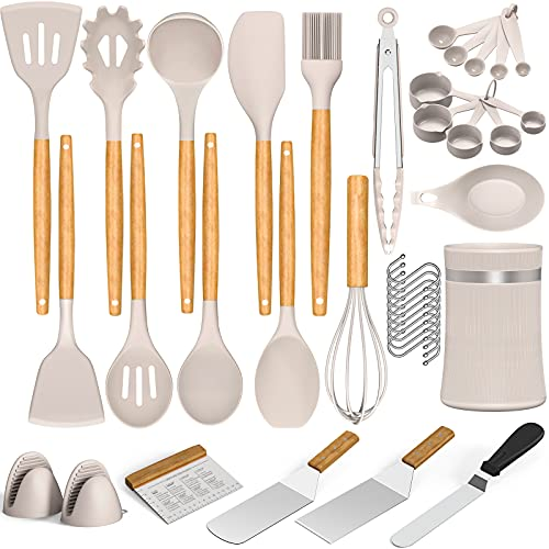 30pcs Silicone Cooking Utensils Kitchen Utensil, AIKKIL Non-stick Kitchen Cooking Utensil Spatula Set with Holder, Heat Resistant Wooden Handle Kitchen Gadgets Tool Set for Nonstick Cookware(Khaki)