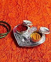 KALAPURI® Silver Plated Pan Shape Haldi-Kunku karand/Kankavati/Kumkum Pooja Thali Set