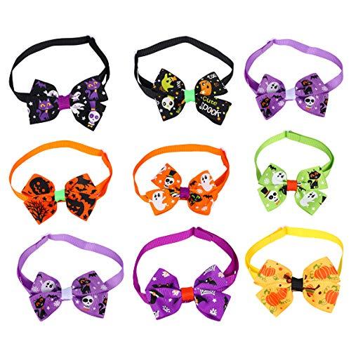iplusmile Suministros para mascotas de Halloween, 20 unidades de pajaritas coloridas para Halloween, calavera, fantasma, collar
