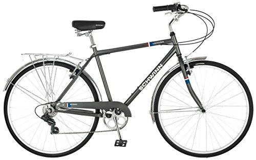 Schwinn Wayfarer Hybrid Bicycle, Featuring Retro-Styled 18-Inch/Medium Steel Step-Over Frame and 7-Speed Drivetrain with Front and Rear Fenders, Rear Rack, and 700C Wheels, Dark Grey