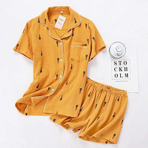 XUHRA zomer-pyjama voor dames, comfortabele zomer-pyjama, katoenen mantel, omgekeerde kraag, nachtkleding, dun, los bedrukt, Homewear