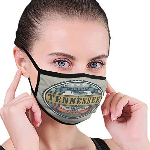 Herbruikbare neushoes, anti-stof warme luchtbeller, half gezicht hoes, vintage stempel tekst Verenigde Staten Amerika Tennessee Vint vrouwen mannen mondhoes, verstelbare oorlussen, wasbare mondbeschermer