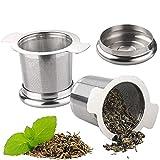 2 Infusori da Tè Pcs, Filtri da Tè in Acciaio Inossidabile con Coperchi e Doppi Manici per Setacciare Tazze, Tazze e Pentole da Tè a Foglia Sfusa, il Miglior Regalo per Gli Amanti del Tè