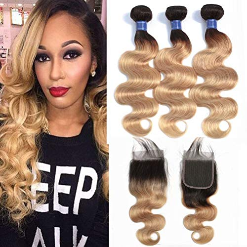 FEEL ME 1b/27 Ombre Brazilian Hair 3 Bundles with Closure Honey Blonde Body Wave Ombre Human Hair Bundles with Closure Brazilian Virgin Wavy Hair Weave Extension (18 20 22+18)