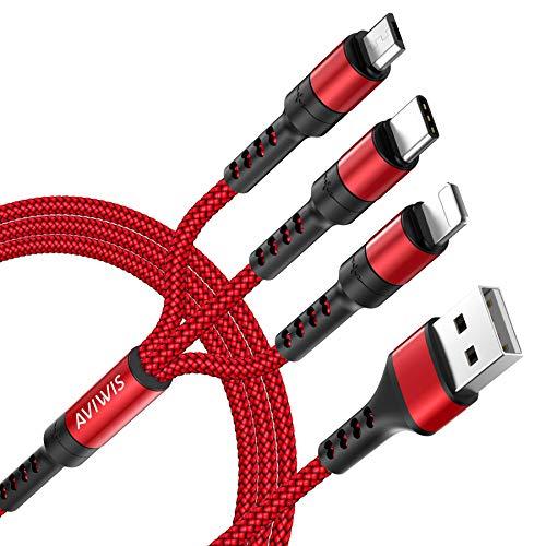 AVIWIS Multi Cavo di Ricarica, Nylon 3 in 1 USB Cavo iP/Micro USB/Tipo C Cavo Compatibile per Samsung Galaxy S20/S10/S9/S8/A50/A40, Huawei P30/P20/P10, Xiaomi Redmi Note 7/8/Mi 9, Honor, Kindle -Rosso