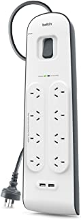 Belkin Quality 2, 4 Amp USB Charging 8-Outlet Surge Protection Strip, White/Grey, (BSV804au2M)