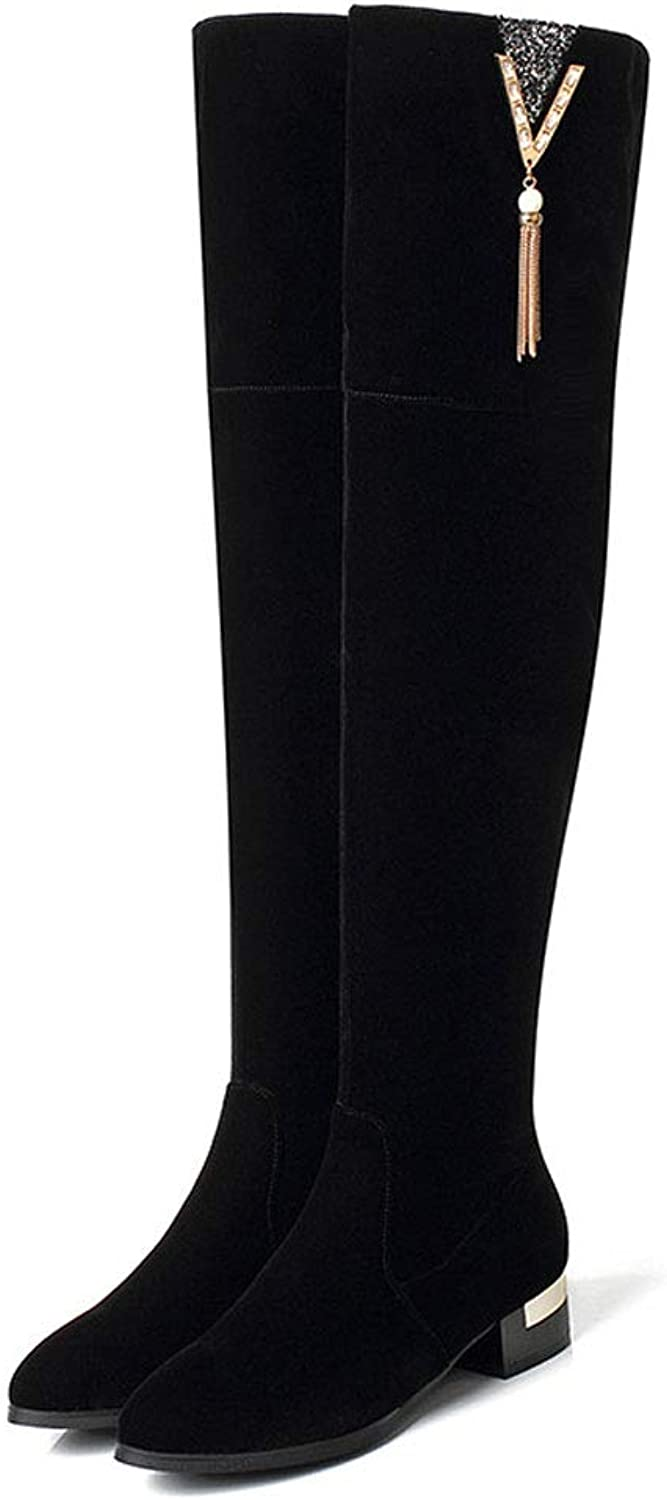 Fashion Over The Knee Boots, Low Heel Side Zipper Pointed Stretch Thigh Boots Tassel High Tube Knight Boots Non-Slip Warm Wear Ladies shoes