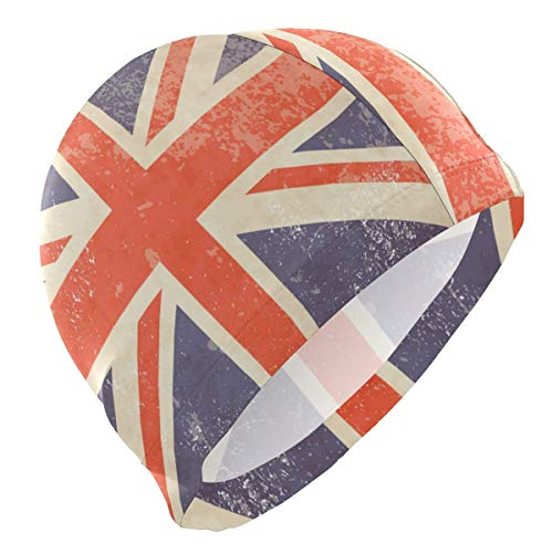 Tcerlcir Gorro Natación Bandera británica Retro del Reino Unido Gorro de Piscina para Hombre y Mujer Hecho de Silicona Ideal para Pelo Largo y Corto