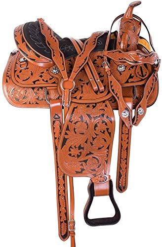 Blue Lake Premium Western Leather Barrel Racing Youth & Pony Horse Saddle with Matching Leather Headstall + Breast Collar + Reins | Color : Sand Brown-Black | Size 13 Inches Seat Available