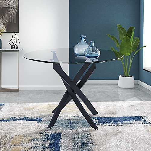 GOLDFAN Round Tempered Glass Dining Table Morden Kitchen Table with Chromed Legs Chrome for Dining Room, Black (Table Only)