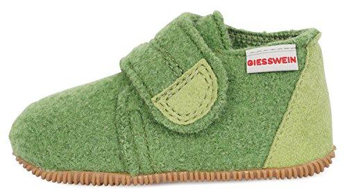 GIESSWEIN Kinderhausschuh Oberstaufen – Kinder Hausschuhe für Mädchen & Jungen | Warme Pantoffeln aus Wolle | Slipper | Slim-Fit Gummi Sohle | Klettverschluss