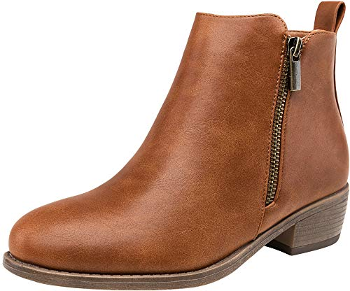 Jeossy Women's Ankle Boots Fashion Low Heel Yellow Brown Winter Booties for Women Size 8.5(DJY905 Yellow Brown 08.5)