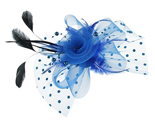 GEMVIE Chapeau Bibi Femme Fille Voile Plume Pince à Cheveux Fleur Coiffure Mariage Cérémonie Cocktail Soirée (Taille unique, Bleu)