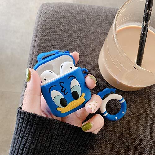 Airpods Schutzhülle Für Cartoon Silikon Wireless Bluetooth Headset Hülle Anti-Wrestling Ring Lanyard Universal 1-2 Generation Airpods Donald Duck