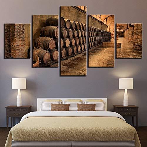 mmwin Decoración del hogar Sala de Estar Pinturas abstractas Modernas Obra de Arte 5 Paneles Barril de Vino Lienzo Impresiones del Arte Cartel Imagen Modular de la Pared