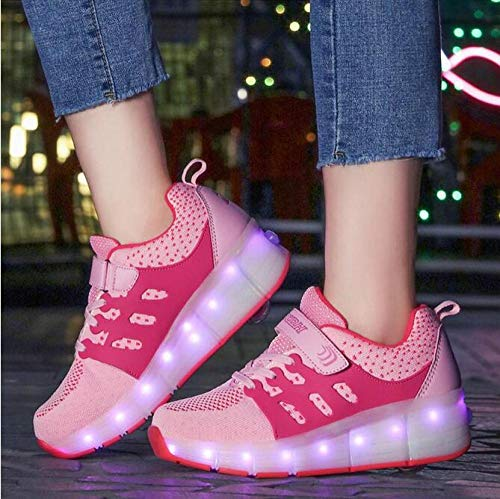 llh Zapatillas Luminosas De Ruedas, Zapatillas De Patín con Luz Led En Color Rosa, Zapatos para Niños Y Niñas, Zapatos Led Unisex,PinkSingleWheel-37
