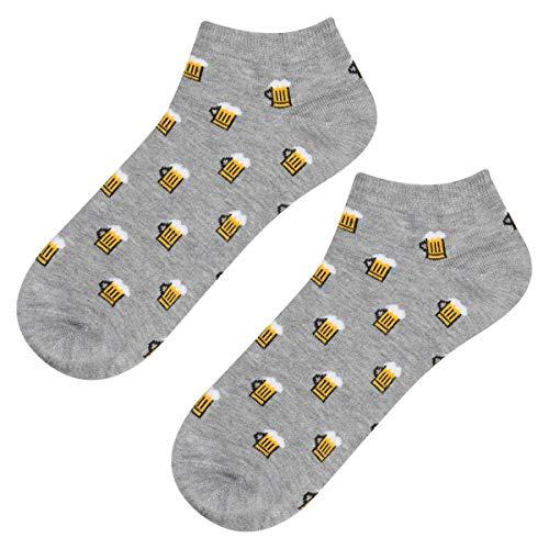 soxo Herren Bunte Bier Sneaker Socken | Größe 40 – 45 | Witzige Motivsocken aus Baumwolle | Perfekt für Frühling und Sommer