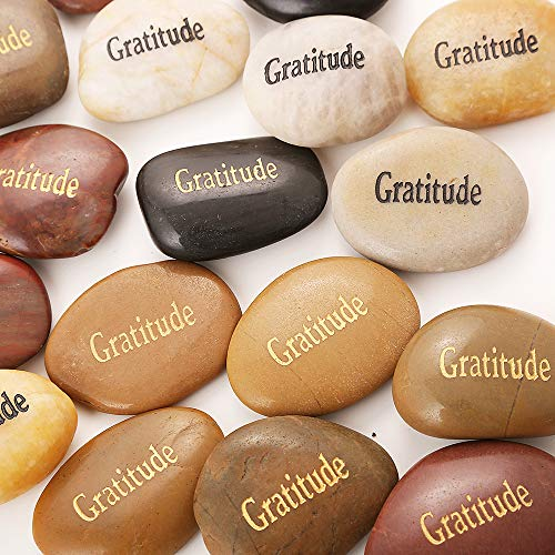 ROCKIMPACT 50PCS Gratitude Gratitude Rocks Bulk Engraved Rocks Inspirational Stones Prayer Gifts Zen Chakra Worry Stones Motivation Encouragement Rocks Wholesale Gratitude Stones, 2-3 Each