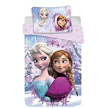 Disney Frozen Anna Elsa - Juego de sábanas para cama individual, compuesto por funda nórdica de 140 x 200 cm y funda de almohada, original, ropa de cama
