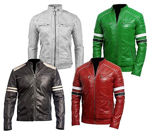 Emporrio ARMANI Uomo, Donna Distressed Stile retrò Cafe Racer Slimfit Vintage Biker Giacca in Pelle Rossa-m
