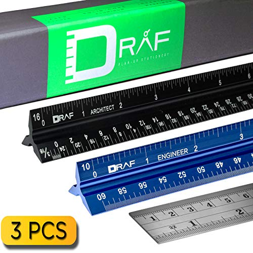 12-Inch Architectural and Engineering Scale Ruler Set (Imperial)  ...