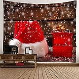 KnBoB Tapiz Decorativo Pared Caja de Regalo de Sombrero de Navidad de Copos de Nieve 260 x 240 CM Tapiz Poliester Impermeable