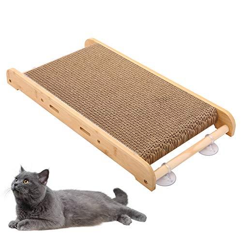 Kuoser, tiragraffi per gatti con erba gatta e ventosa in cartone ondulato, tiragraffi per animali domestici, per proteggere i mobili