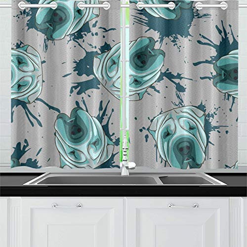 "Kitchen Curtains Decorative Dog Turquoise Shar Pei Muzzles Window Drapes 2 Panel Set for Kitchen Cafe Decor, 52"" X 39"", Best Window Curtains"