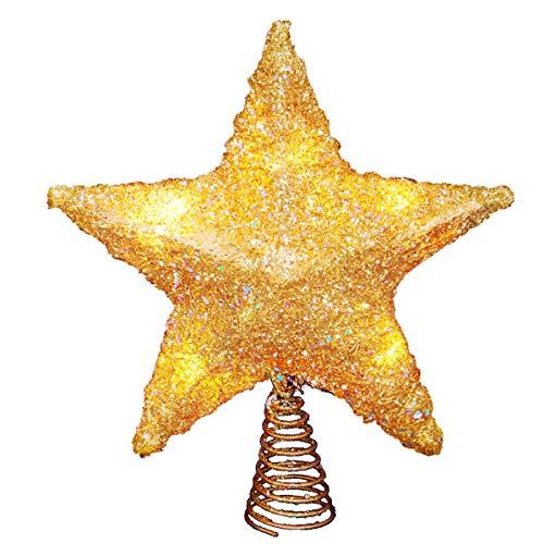 LAWOHO Weihnachtsbaum Topper Stern Ornamente glitzernden Gold Festival Geschenk Display beleuchtet klar Dekor 10 Zoll