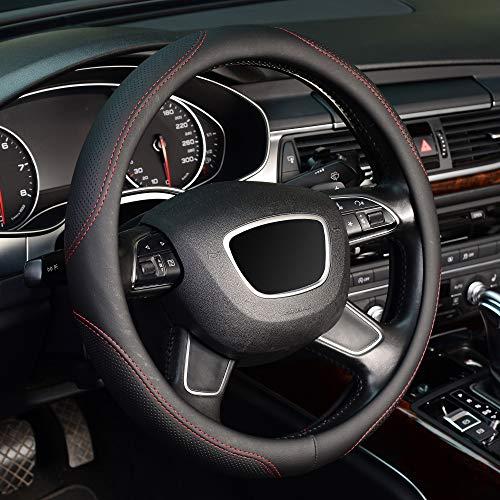 KAFEEK Microfiber Leather Steering Wheel Cover, Universal 15 inch, Red Lines