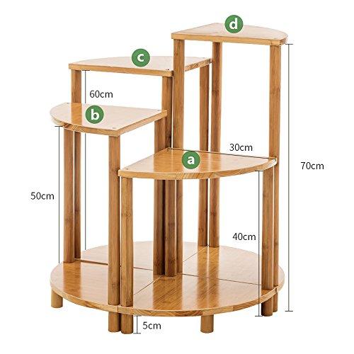 GLFZWJ 3 houten planken, creatieve combinatie van vakkenvormig balkon, bloemenrek, massief hout, meerdere vloeren, vloerplank, eenvoudige groene plant frame, slaapkamer, magazijnrek, gang planken