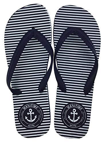 Men Beach Slipper Anker 43/44 weiß/blau gestreift mit maritimen Anker-Design, Zehentrenner, Badelatschen, Schwimmbad-, Sauna-, Sommerschuhe
