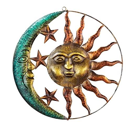 Décoration Murale Métal Soleil Lune, Décoration Murale Créative avec Soleil et Lune Décorations Murales Intérieures et Extérieures pour Bureau à Domicile de Salon de Jardin D'arrière-cour (B)