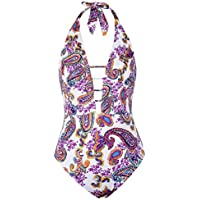 Hilor Women's Lace Up One Piece Swimsuit Halter Bikini High Waisted Swimwear (various sizes/colors)