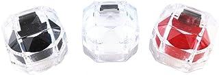 yueton Pack of 3 Plastic Octagonal Diamond Shape Transparent Ring Box Gift Storage Box Candy Jewelry Organizer Pill Case C...