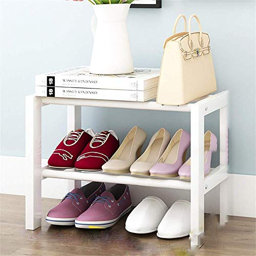 Zapatero simples de la casa Economía de múltiples capas de almacenamiento en rack compartida a prueba de polvo de zapatos Sala de estar Estante de múltiples funciones del estante de doble capa blanca