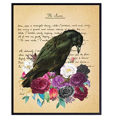 Edgar Allan Poe Gifts - The Raven - Gothic Living Room Decor - Medieval Decor - Wicca, Wiccan, Witchcraft, Occult - Goth Wall Art - Creepy Poster for Bedroom - Crow, Black Roses, Flowers Picture